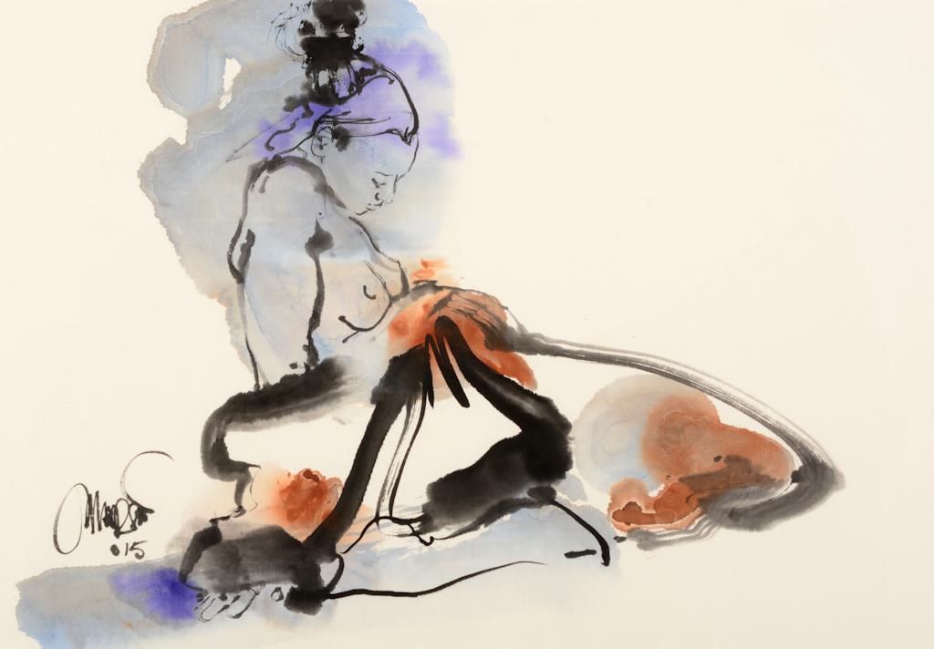 Sereen, sumi-e, inkt, aquarel, 60cm-60cm